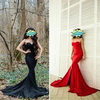 2019 Sexy Strapless Padded Mermaid Dress Long Split Front Bodycon Off the Shoulder Red Black Elegant Floor Length Dress