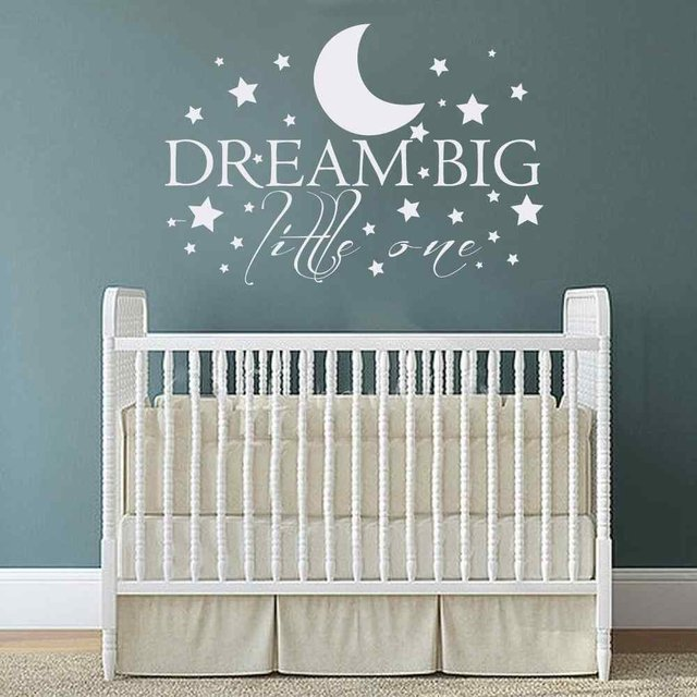 Aliexpresscom Buy Dream Big Little One With Stars Baby Nursery - Nursery wall sticker quotes