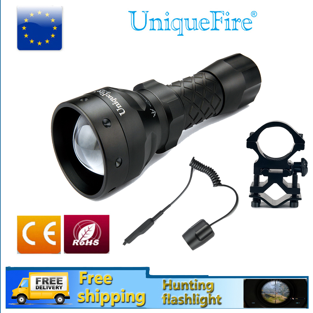 UniqueFire Flashlight 18650 UF-1407 IR 940NM Zoom 3 Modes IP65 Waterproof Material Infrared Lamp+Scope Mount+Remote Pressure uniquefire portable led flashlight uf 1406 cree xp e zoom 3 modes w g r light rechargeable 18650 flashlight with remote pressure