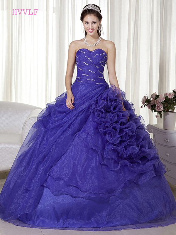 Blue Puffy 2019 Cheap Quinceanera Dresses Ball Gown Sweetheart Organza Beaded Ruffles Sweet 16 Dresses