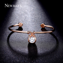 NEWBARK Love Heart Bangles Rose Gold Plated Opening 4 Pcs 2 Carat Cz Diamond Ball Pendant Bracelets For Women Cocktail Jewelry