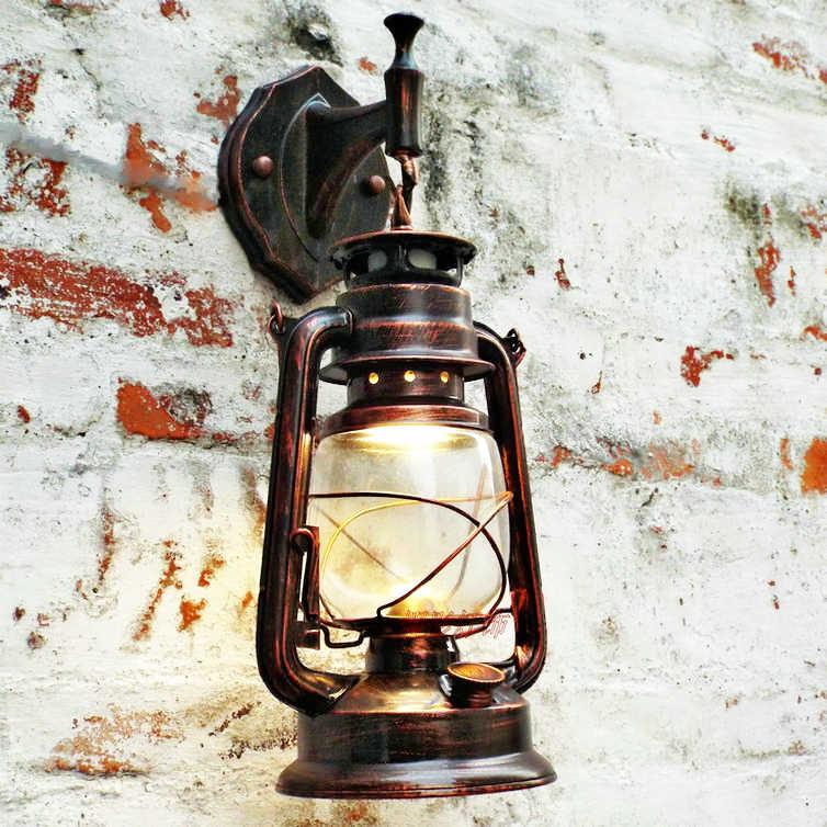 Ретро Классический Керосиновый Фонарь старинные настенные лампы кованого железа винтажный Промышленный красный/желтый/черный бронзовый настенный светильник