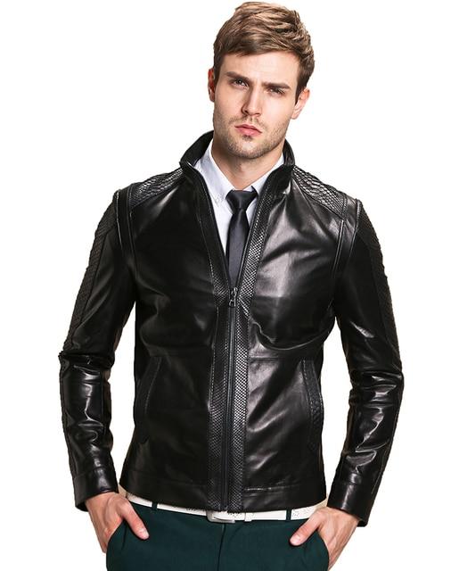 De los hombres de alta calidad de piel de Oveja chaqueta de La Motocicleta Chaqueta de Cuero Chaquetas de Los Hombres chaqueta de Abrigo parka de Los Hombres de cuero de piel de pitón caliente
