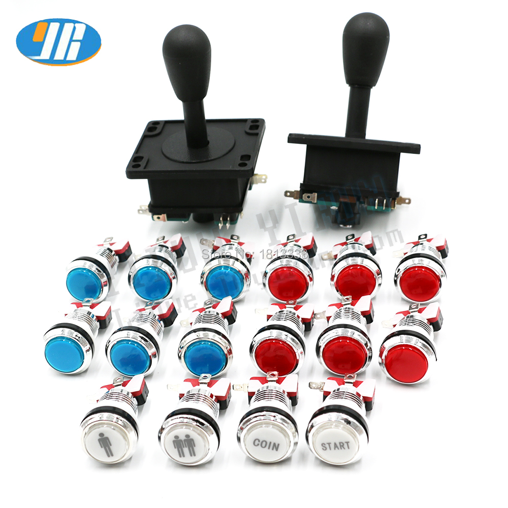16pcs 12V LED chrome illuminate push button + 2pcs ZIPPY 8way arcade joystick for DIY JAMMA ARCADE GAME KIT