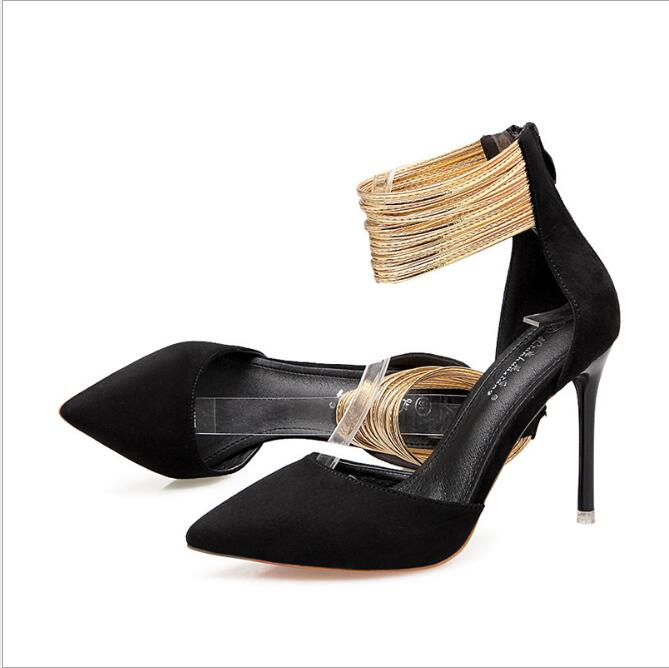 Stiletto Heels Sandals Shoes Pointed Women's Ladies Metal Bare-Belt