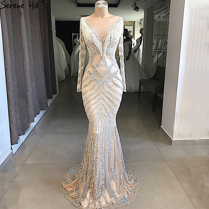 New Dubai Nude Slim Mermaid Evening Dresses 2019 Long Sleeves Beading Tassel Fashion  Formal Evening Gown BLA6594(China)