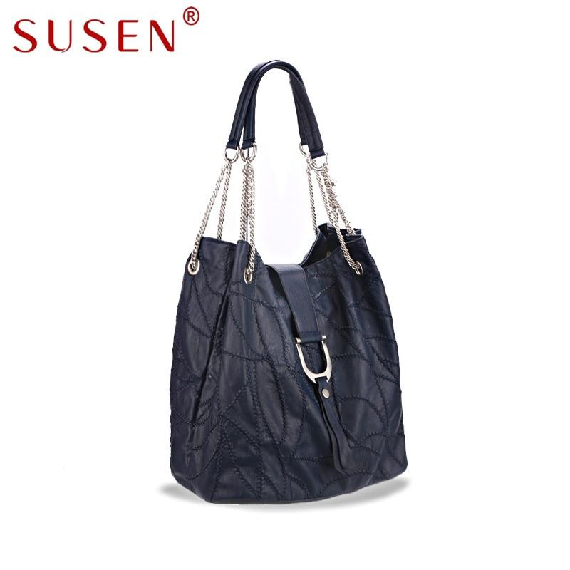 ФОТО SUSEN 8107 high quality Tote Bag Women Top PU leather Simple Design Solid Color Handbag Shoulder Bag Metal Chain Cross body Bag