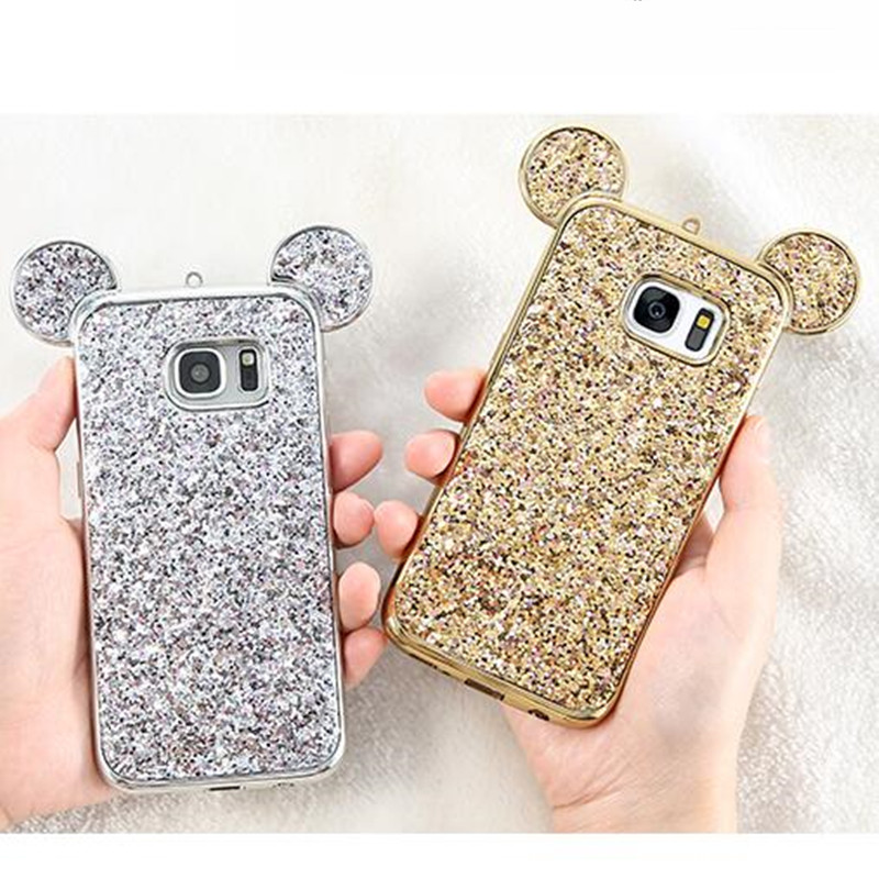 Bling Paillettes Soft TPU Phone Cases For Samsung Galaxy S8 Plus Mickey Ear Protective Glitter Cover for Samsung S7 edge S6 edge