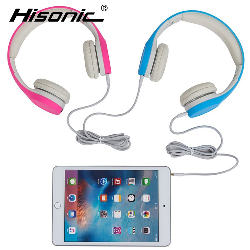 Hisonic Children Headphone Foldable Child Hörlurar Headset Wire Control Wired Telefon Boy Girl Headset med Microphone Kid Headset