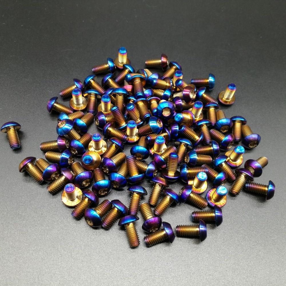 48pcs lot Super Light M5x10mm Burning Blue Ti Titanium Screw Bolt For Disc Brake Rotors Mountain