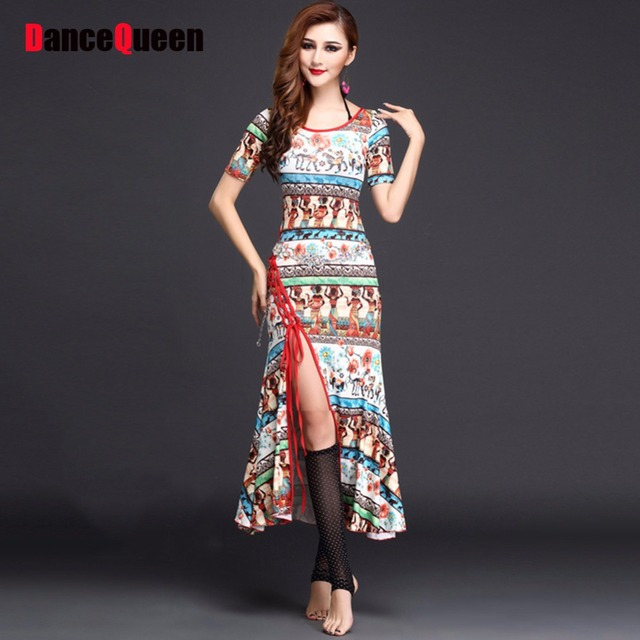 2017 New Women Belly Dance Dress Black/Red/Blue Pattern/Print Flower ...