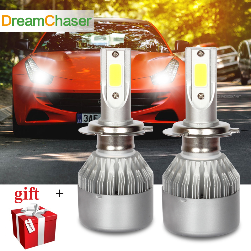 dream chaser Car Headlights H7 H11 LED H4 9005/HB3 H1 H3 H9 9012 72W 7600Lm Mini Auto Fog Lighting Replacement Bulbs 6000K 12V new car styling auto h4 led bulb h7 lighting car led 12v lights h4 h7 led lamps light bulbs headlights for cars led headlights