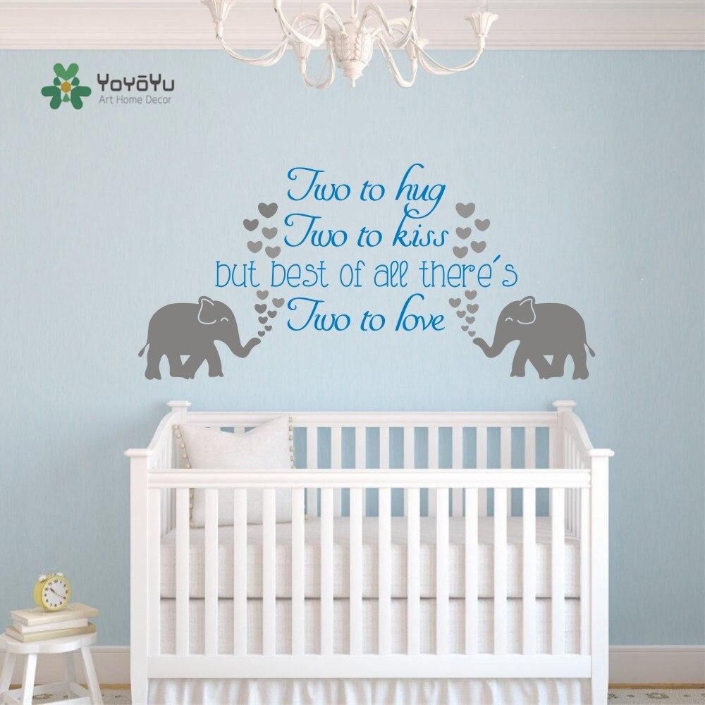 YOYOYU Art Wall Decal Nursery Family Elephant Twins Quotes wall ...