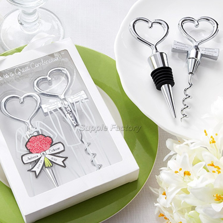 80sets 160pcs Love Heart Corkscrew Wine Bottle Opener Wine Stopper Wedding Gift Favors Bottle Opener