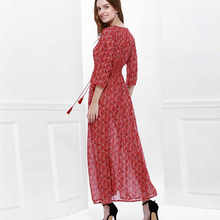 Summer Chiffon Boho Dress Women Casual Floral Sexy V-neck Maxi Beach Dress Vestidos Three Quarter Sleeve Split Maxi Dress **