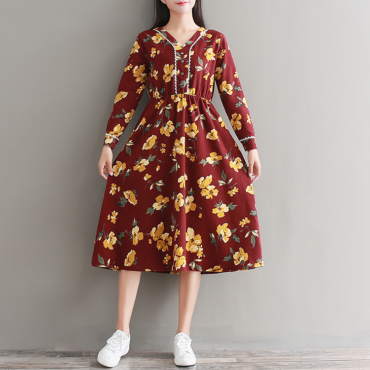 New Vintage Women Long dress Print Full Sleeve Literary Fan Xiaoqing Grinding Hair Elastic Waist Dresses Red 1160