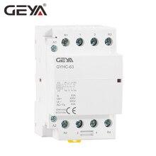 Free Shipping GEYA 4P 63A 4NO or 2NC2NO 220V/230V 50/60HZ Din Rail Household AC Modular Contactor стоимость