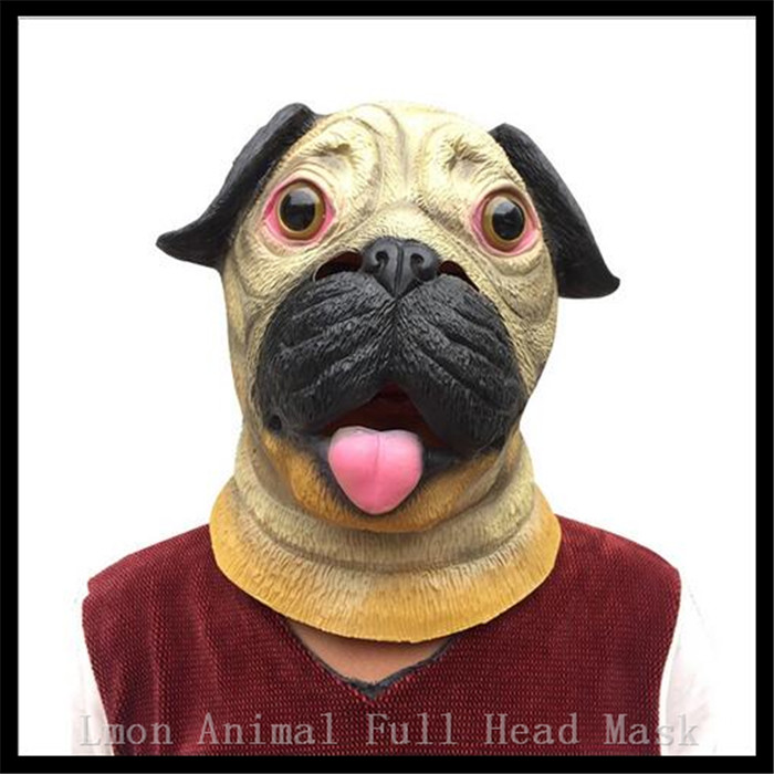 creepy horse mask halloween costume theater prop novelty latex rubber animal mask pug dog mask dog head mask adults in stock