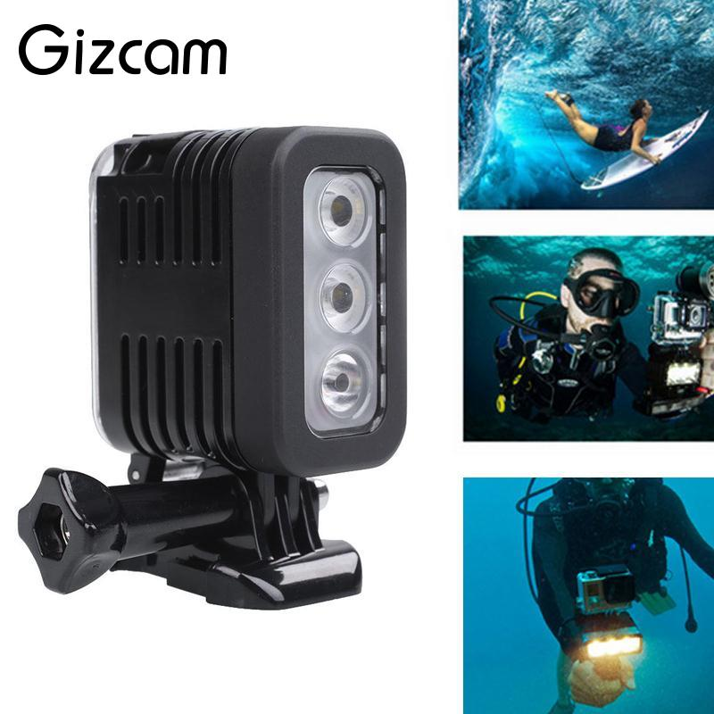 Gizcam New Underwater 30M Waterproof LED Video Light Mount For GoPro Camera Camcorder Outdoor Travelling Flashes Accessories