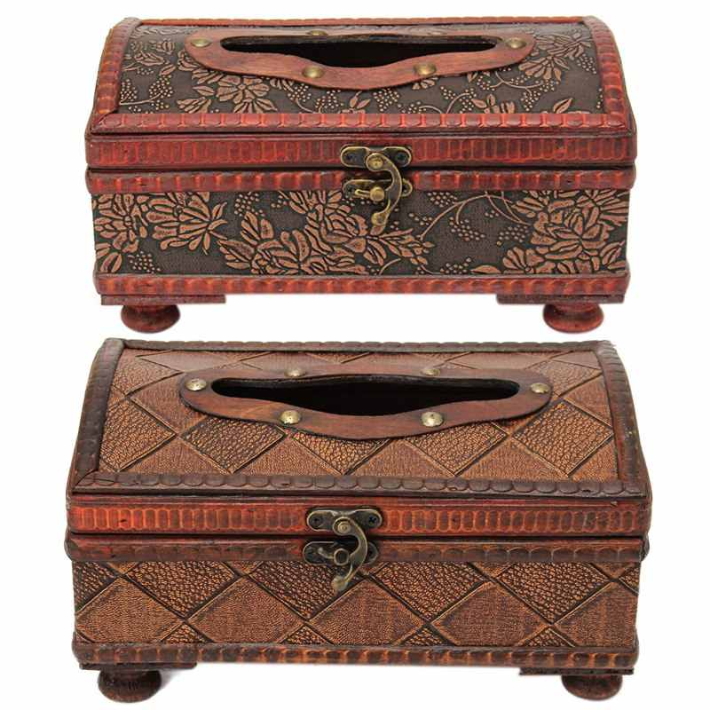 Klasik Vintage Kayu Retro Kertas Tisu Kotak Cover Serbet Pemegang Case Kontainer Kerajinan Rumah Mobil Rectangle Hadiah Ornamen