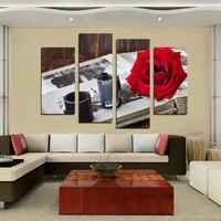 4 יחידות קלטת המצלמה ציורי סט משולב אדום רוז פרח לא ממוסגר תמונת בית תפאורה אמנות קיר בד ציור קיר מודרניים F18852