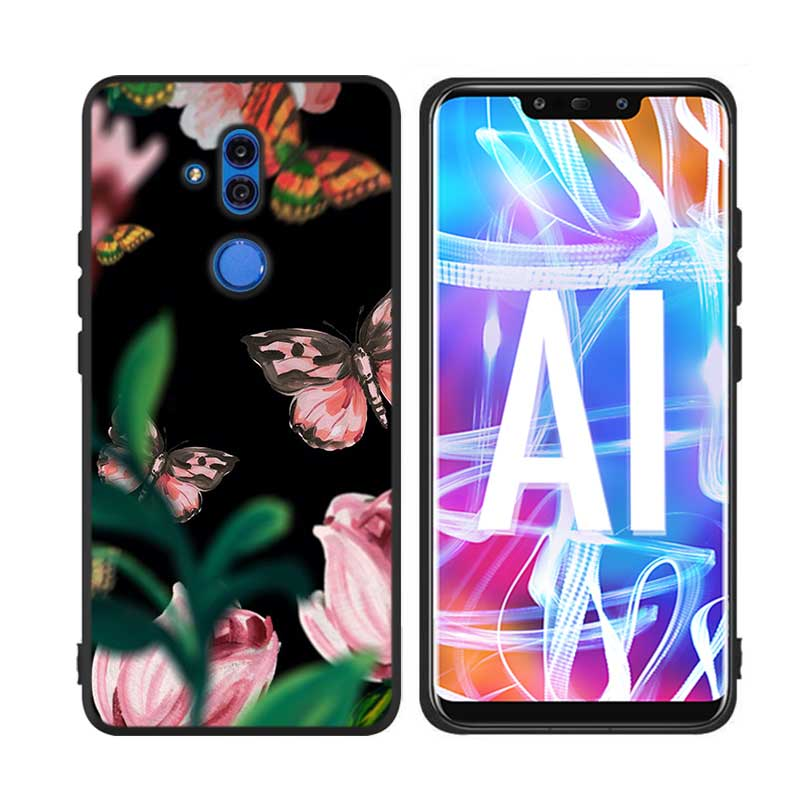 Black Silicon Phone Case Tree Summer Flower for Huawei Honor Mate 7C 7A 8 8A 8X 9 10i 10 20 Nova 3 3i Pro Lite in Fitted Cases from Cellphones Telecommunications