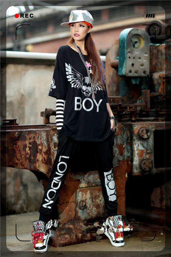 2019 New Women Set 2 Pieces Outfits Reflective Light Hip Hop T Shirts Top And Pants Boy London Oversize Tracksuits Streetwear