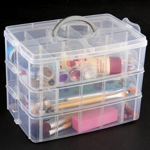 TEXU 3 Layers Transparent Plastic Case Jewelry Organizer Storage Box