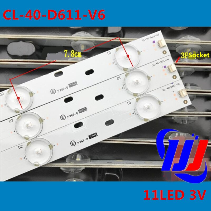 3Pieces 798mm LED Backlight strip 11 lamp For P h ilips 40
