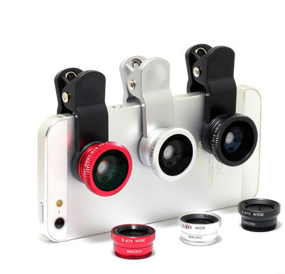 Universal 3 In 1 Clip-on Fish Eye Macro Wide Angle Mobile Phone Lens Camera kit for iPhone 4 5 6 Samsung S4 S5 note2 3 MOTOROLA