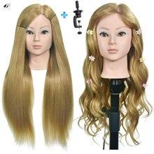 цена Boli Best 56CM 30% Human hair 70% synthetic Blonde Hair Training Head Hairdressing Practice Mannequin Doll Head can be curl онлайн в 2017 году