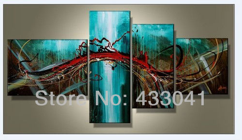 Hand Painted 4 Piece Sets Modern Abstract Large Wall Art Blue Green ...
