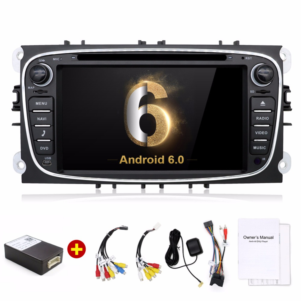 2 din Android 6.0 Quad Core Car DVD Player GPS Navi for Ford Focus Mondeo Galaxy with Audio Radio Stereo Head Unit android 5 1 car radio double din stereo quad core gps navi wifi bluetooth rds sd usb subwoofer obd2 3g 4g apple play mirror link
