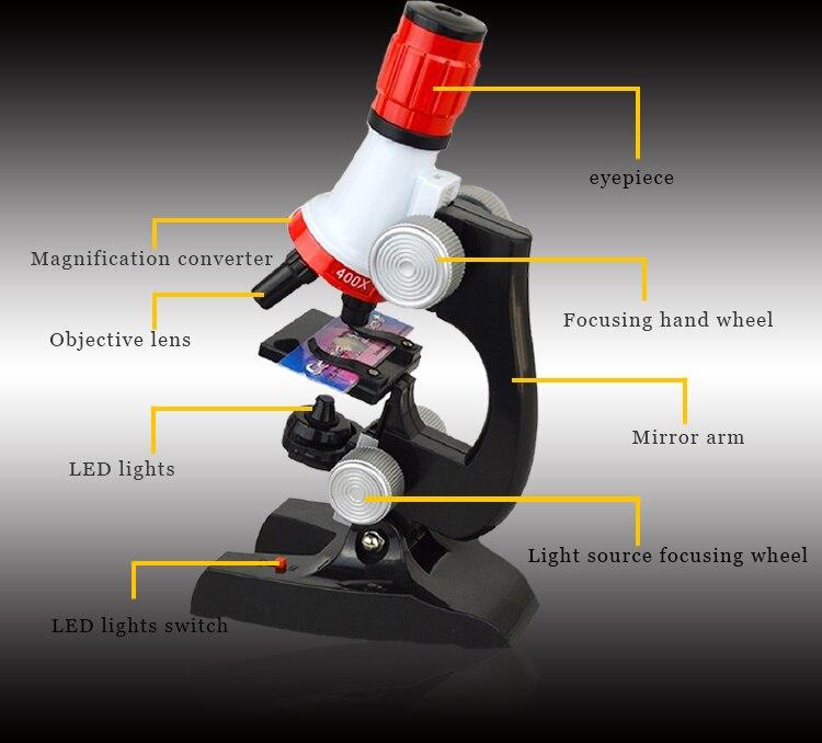 Biologische Mikroskop 100X 400X 1200X Beleuchtet Monokulare Für Kinder Bildung Spielzeug Werkzeug Design Mikroskop