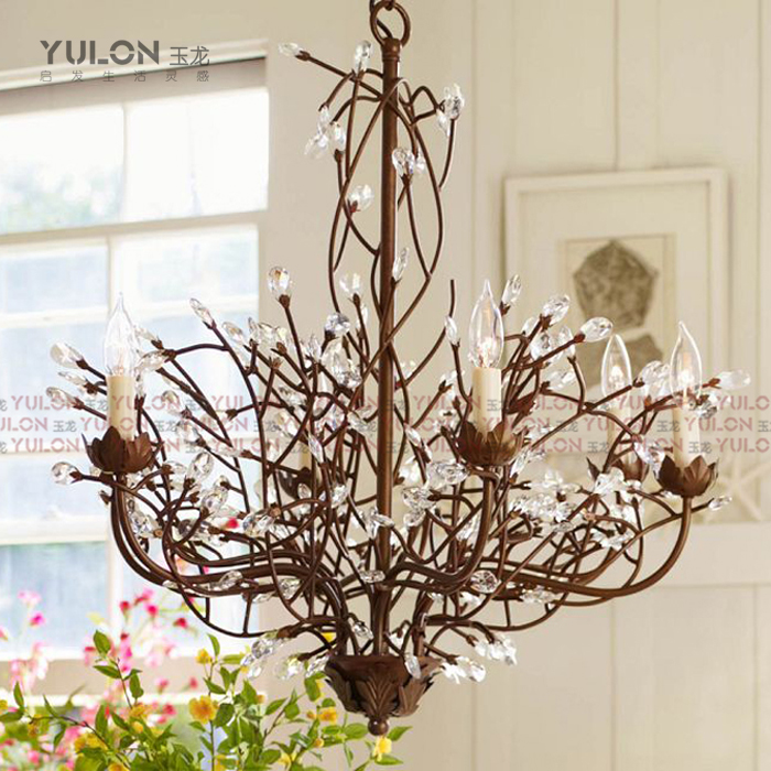 FERR SHIPPING EMS American vintage iron crystal pendant light 2013 creative branches pendent lamp