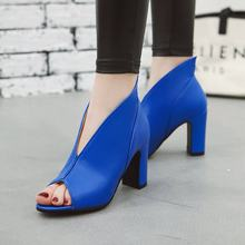 Women Sandals Woman Shoes Size 34-43 ZIP Peep Toe High Square Heels Slip On Leasure Party 2019 New Arrival SS210(China)
