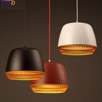 IWHD Style Loft Vintage Pendant Light Fixtures BlacK White Red Iron ...