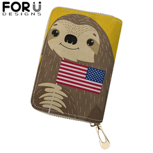 FORUDESIGNS Lovely Sloth Printing PU Leather Card Holder Portable Wallet Purses for Woman Femme Kawaii Folivora ID Credit Bags