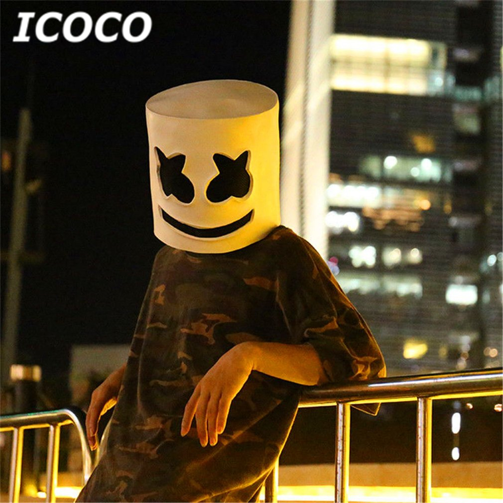 ICOCO Fashionable Halloween Party Marshmallow Mask Night Club Latex White Mask Adult DJ Cosplay Costume Helmet Sale hot movie beauty and the beast adam prince mask cosplay horror beast mask latex full head mask halloween party mask for men