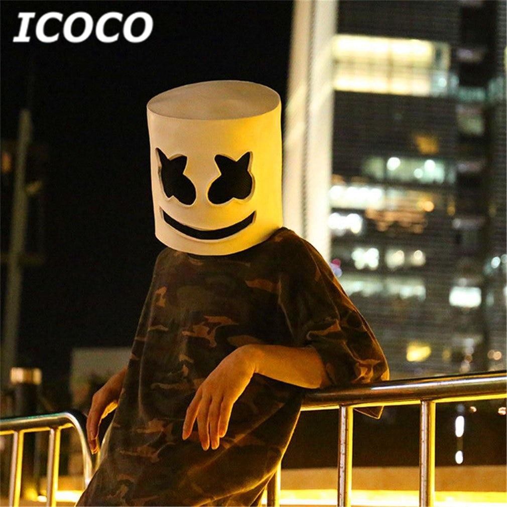 ICOCO Fashionable Halloween Party Marshmallow Mask Night Club Latex White Mask Adult DJ Cosplay Costume Helmet Sale