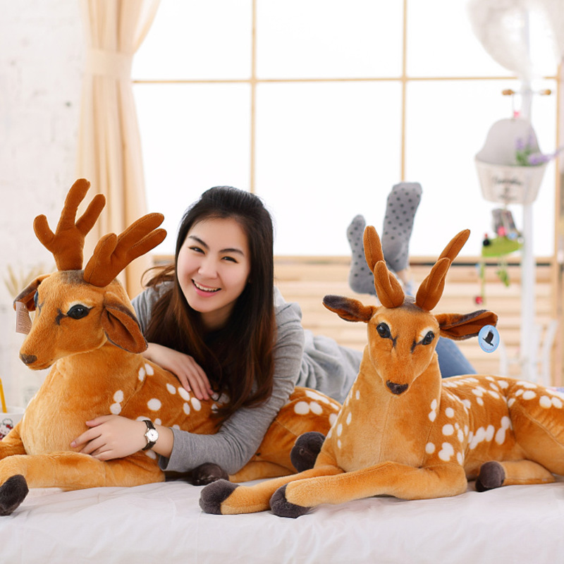 Lovely Simulation Animal Plush Toys Deer Doll Christmas Boys And Girls Gifts Decorations stuffed toys for Children Birthday fashion deer bell head band christmas decorations