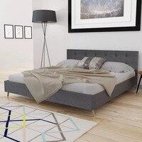 VidaXL темно-серая кровать дерево с тканевой подкладкой элегантная и прочная внутренняя кровать МДФ + фанерные планки + древесина тополя ноги