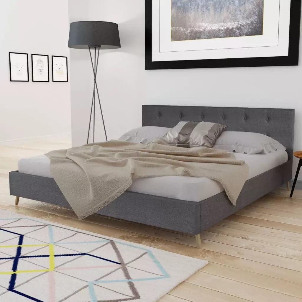 VidaXL Dark Gray Bed Wood With Fabric Padding Elegant And Sturdy Indoor Bed MDF + Plywood Slats + Poplar Wood LegsVidaXL Dark Gray Bed Wood With Fabric Padding Elegant And Sturdy Indoor Bed MDF + Plywood Slats + Poplar Wood Legs