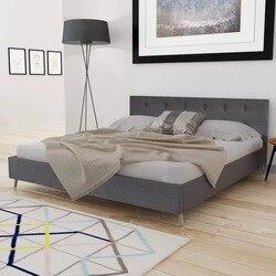 VidaXL ciemnoszare łóżko drewniane z wyściółką z tkaniny eleganckie i solidne łóżko wewnętrzne MDF + listwy ze sklejki + nogi z drewna topolowego