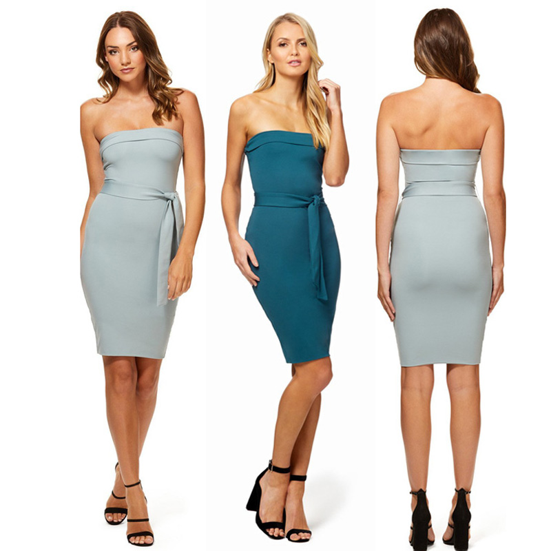 Womens Boobtube Bandeau Party Bodycon Pencil Dress Girls Ladies Mini Dress