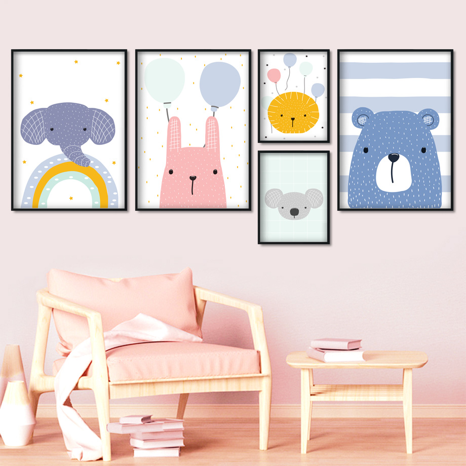 Cartoon Lion Rabbit Elephant Koala Bear Balloon Nordic Posters And Prints Wall Art Canvas Painting Pictures Kids Room Decor