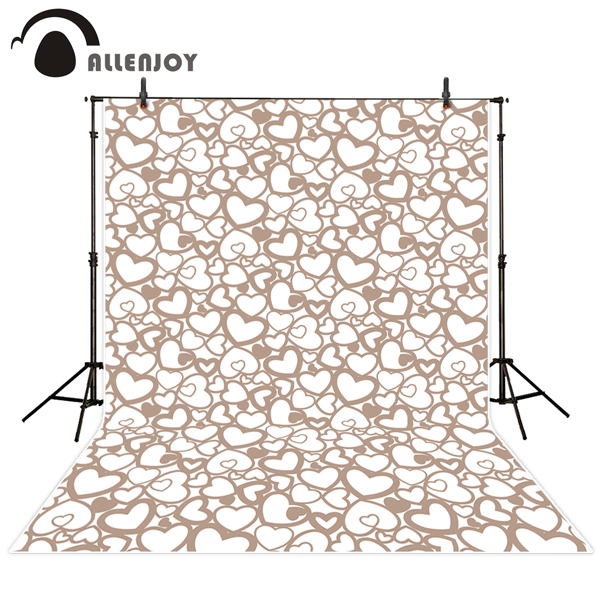 Allenjoy photography backdrops brown heart love wedding Valentine's Day simple for studio photo background for photo shoots 8x10ft valentine s day photography pink love heart shape adult portrait backdrop d 7324