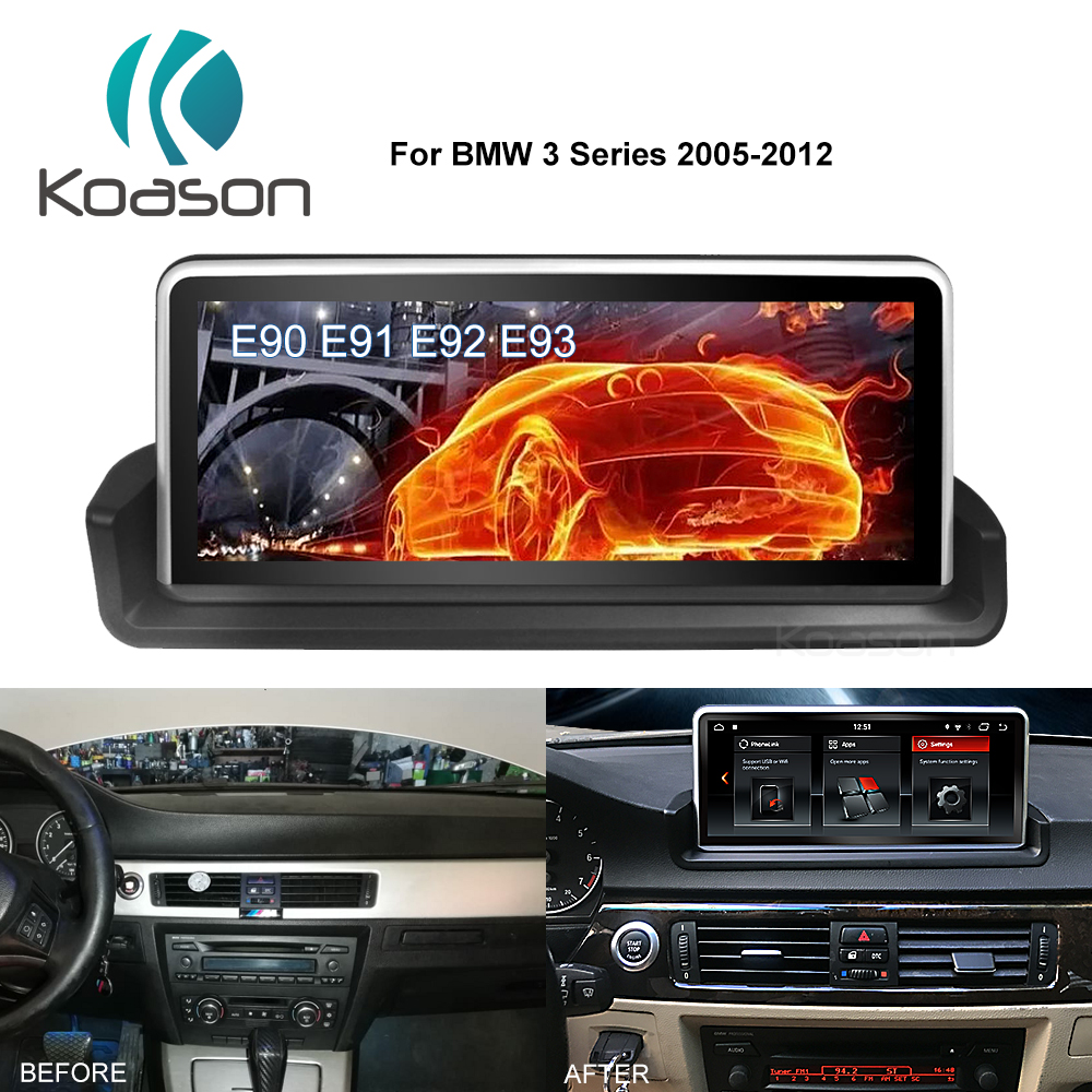 Koason 10.25Touch Screen Car GPS Navigation For BMW Android 8.1 Wifi Radio Audio Video Player Navigator+iDrive Knob