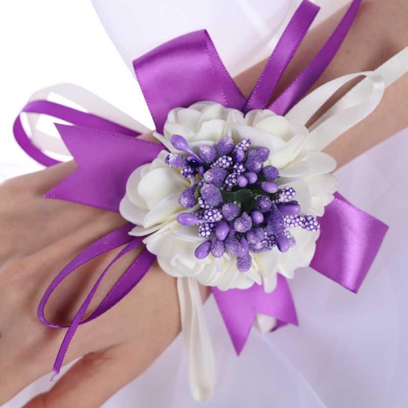 Boda baile fiesta flores muñeca mano decoración flores pulsera para La novia de dama de honor boda fiesta muñeca ramillete suministros