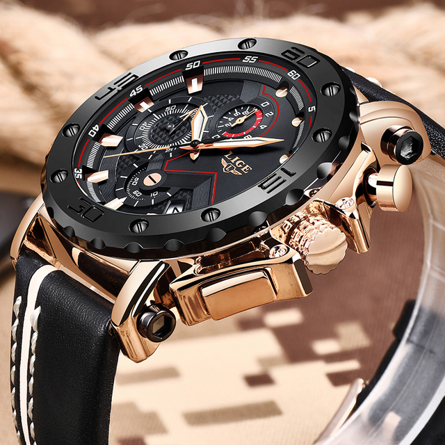 2019LIGE New Fashion Mens Watches Top Brand Luxury Big Dial Military Quartz Watch Leather Waterproof Sport Chronograph Watch Men 1